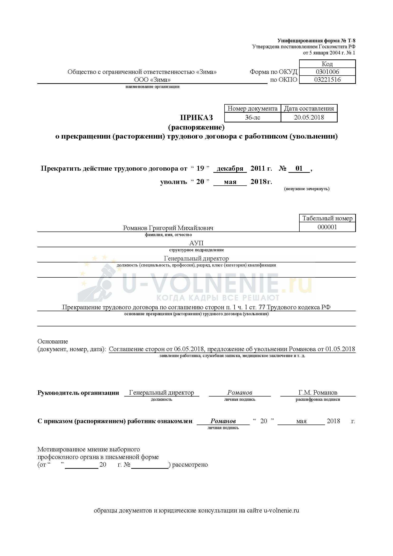 Образец приказа об увольнении директора по соглашению